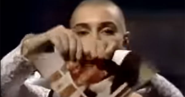 Sinead O'Connor rips a photo of the Pope
