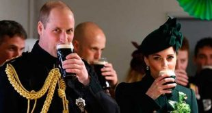 Prince William and Kate Middleton drinking Guinness