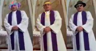 Priest accidentally uses filter for social media broadcast
