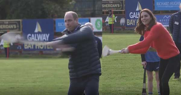 Will and Kate try their hand at hurling on final day in Ireland