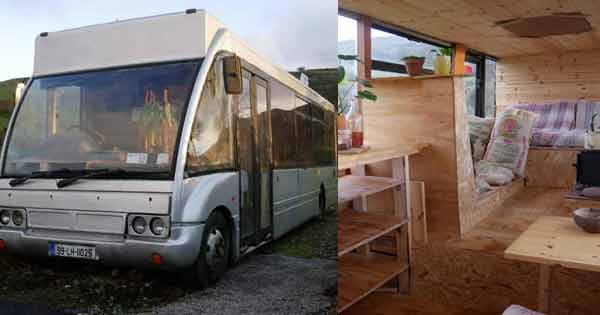 Take a look inside this incredible minibus converted into a mini home