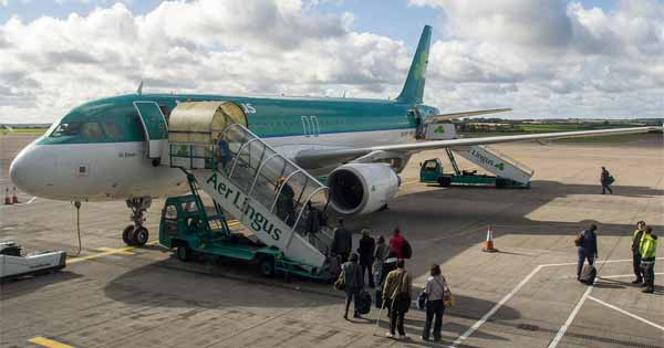 Passengers boarding a plane at Cork airport