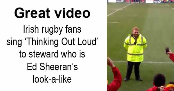 Great video - Irish rugby fans sing 'Thinking Out Loud' to steward who is Ed Sheeran's look-a-like