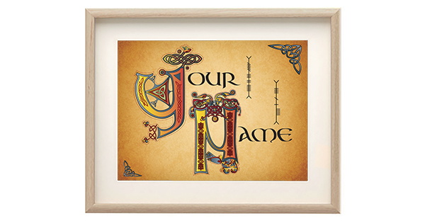 Win a Framed Print of Your Name Book of Kells style