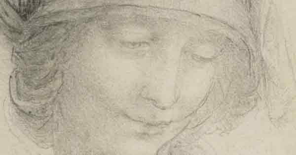 A Study from the head of St Anne by Leonardo da Vinci