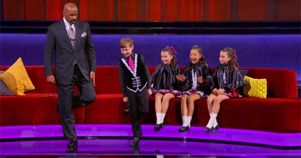 A group of children show off their Irish dance skills on Little Big Shots