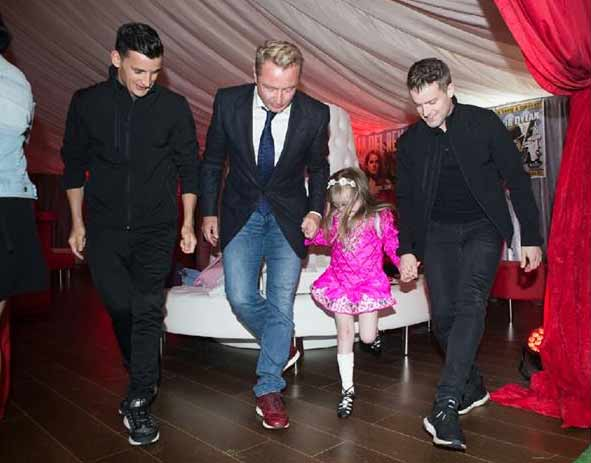 Michael Flatley dancing with Irish girl Maya Gillick ahead of the Dublin Premiere of Lord of the Dance: Dangerous Games. Pghoto from Michael Flatley's Facebook page
