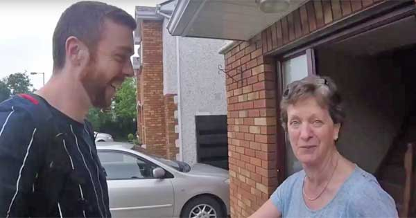 Son flies home to surprise mam on birthday