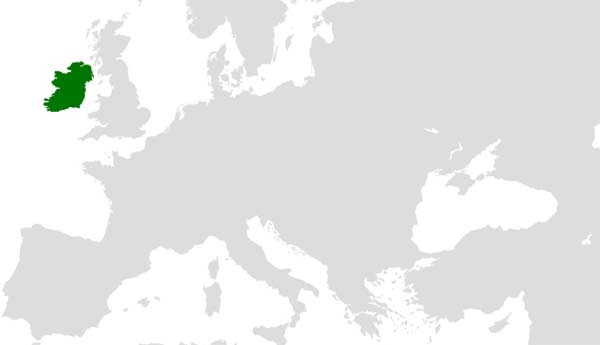 Map of Eurpoe with united Ireland. copyright Asarlaí cc4